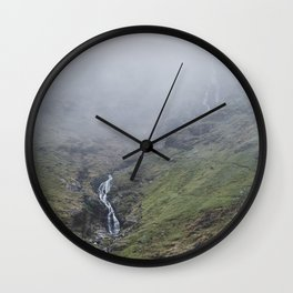 Moss Force waterfall in cloud. Newlands Hause, Cumbria, UK. Wall Clock