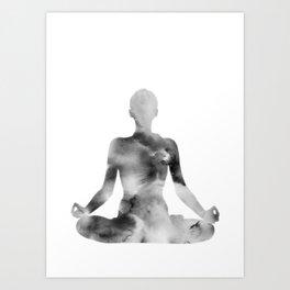 Yoga | Lotus Pose | Padmasana | Sacred Lotus | Asana | Meditation | B&W Art Print