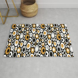 Mid Century Modern Ovals - Small Print in Black, White, Gold, Silver Rug