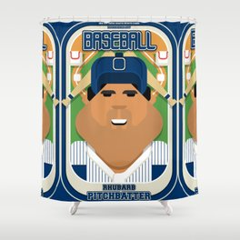 Baseball Blue Pinstripes - Rhubarb Pitchbatter - Seba version Shower Curtain