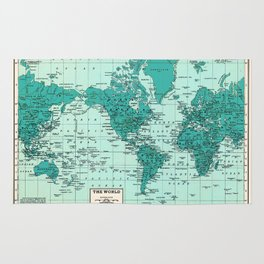 World Map in Teal Rug
