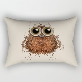 Coffee beans and cups forming owl Rectangular Pillow