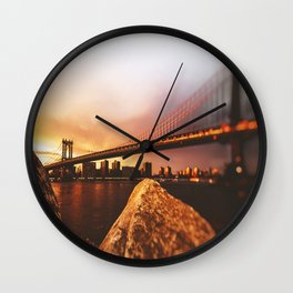 view of the manhattan skyline Wall Clock
