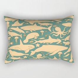 Minimalist, yellow and blue pattern of sea animals Rectangular Pillow