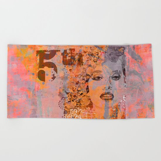 Wild Woman modern face mixed media art Beach Towel