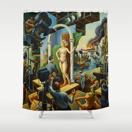 Classical Masterpiece 'Hollywood' by Thomas Hart Benton Shower Curtain
