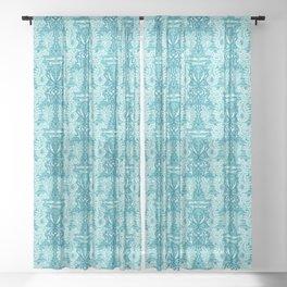 Sealife damask seahorse pattern. Sheer Curtain