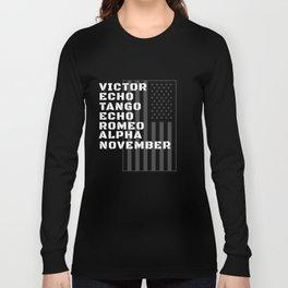 Military Alphabet Veteran With American Flag Long Sleeve T-shirt