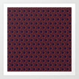 Hexagonal Abstract Pattern (Orange Red // Russian Violet) Art Print