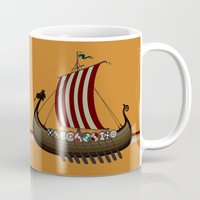vikings Mugs featuring Vikings by mangulica illustrations