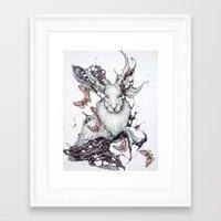 jackalope Framed Art Prints featuring Jackalope by Lauren Marx