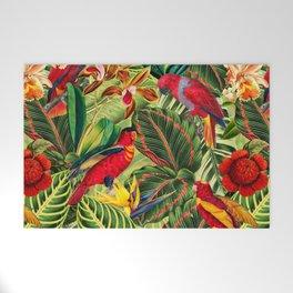 Vintage & Shabby Chic - Midnight Tropical Flower Garden III Welcome Mat