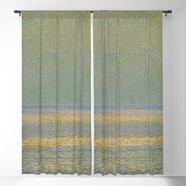 'Calma,' Rays of Sun reflecting on calm ocean waters seascape painting by Giorgio Belloni Blackout Curtain