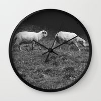 sheep Wall Clocks featuring Sheep by Pati Designs