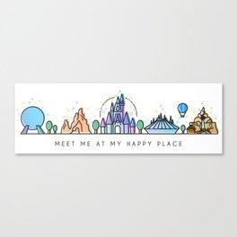 Meet me at my Happy Place Theme Park Skyline Canvas Print