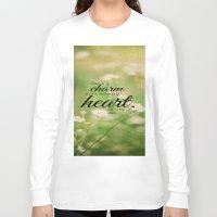 jane austen Long Sleeve T-shirts featuring Jane Austen Quote Charm Tenderness Heart by KimberosePhotography