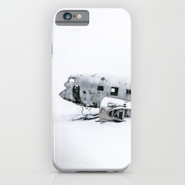Plane Wreck in Iceland in Winter - Landscape Photography Minimalism iPhone Case