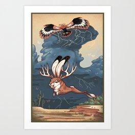 Jackalope and Thunderbird Art Print