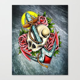 trad skull anchor Canvas Print