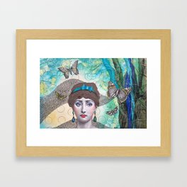 Young lady - Blue Framed Art Print