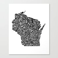 wisconsin Canvas Prints featuring Typographic Wisconsin by CAPow!