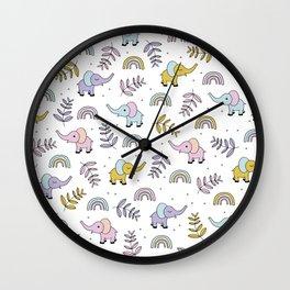 Little Elephant safari rainbow love girls kawaii nursery Wall Clock