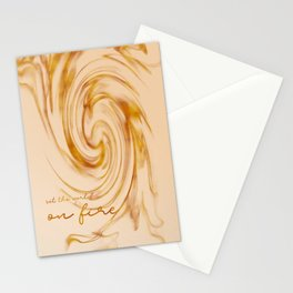 Graphic Art SET THE WORLD ON FIRE   gold Stationery Cards