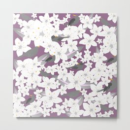 Flowers and birds on the purple background Metal Print