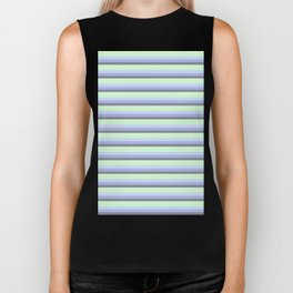 Pastel Blue Gray Seafoam stripeS. Biker Tank