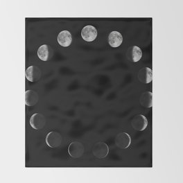 Phases of the Moon. Moon lunar cycle. Throw Blanket