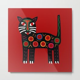 Happy Mola Cat - Dharma Rojo 2 Metal Print