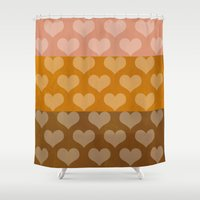 rose gold Shower Curtains featuring Patina Hearts Rose Gold by Beautiful Homes