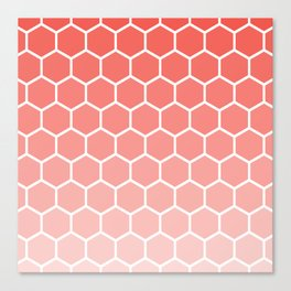 Coral pink gradient honey comb pattern Canvas Print