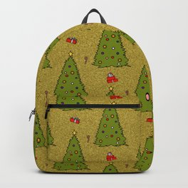 Gold Christmas Trees Candy Gift Boxes Pattern Backpack