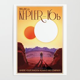 NASA Retro Space Travel Poster #8 Kepler 16b Poster