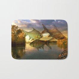 Fish And Lake By Annie Zeno  Bath Mat