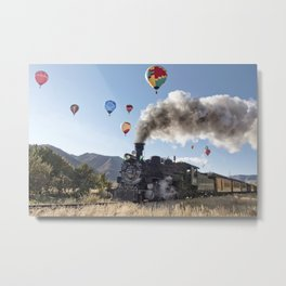 Durango Steam Train & Hot Air Balloons Metal Print