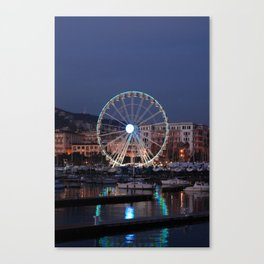 Italy : Ferris wheel for the Luci d'Artista 2018, Christmas lights show in Salerno, December, 2018 Canvas Print