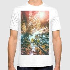 California Redwoods Sun-rays and Sky Mens Fitted Tee White MEDIUM
