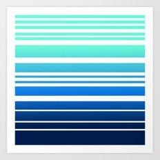 Bay Ombre Stripe: Mint Navy Art Print