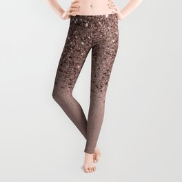 Sparkling Rose Gold Blush Glitter #3 (Photography) #shiny #decor #art #society6 Leggings