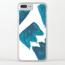 Basquiat Crown, Abstract, Blue Duck Clear iPhone Case