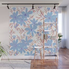 Blue flowers pattern Wall Mural