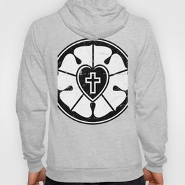 Black & White Luther Rose | Lutheran Design Hoody