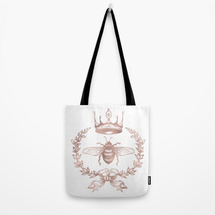 Queen Bee in Rose Gold Pink Tote Bag