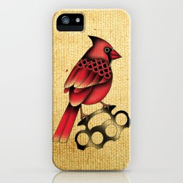 Cardinal and knuckle duster with canvas background iPhone Case