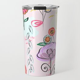 Hand Drawing Abstract Flowers. Pastel Colored Colorful Spring Pattern Travel Mug
