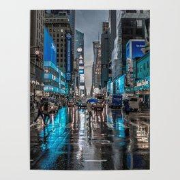 Spectacular Busy New York Manhattan City Street Blue Hue HD Poster