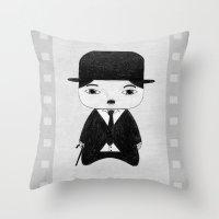 alisa burke Throw Pillows featuring A Boy - Charlie Chaplin (B&W) by Christophe Chiozzi