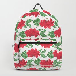 Watercolor Winter Red Flowers Gold Dots Artwork Backpack